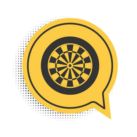 Black Classic darts board with twenty black and white sectors icon isolated on white background. Dart board sign. Dartboard sign. Game concept. Yellow speech bubble symbol. Vector