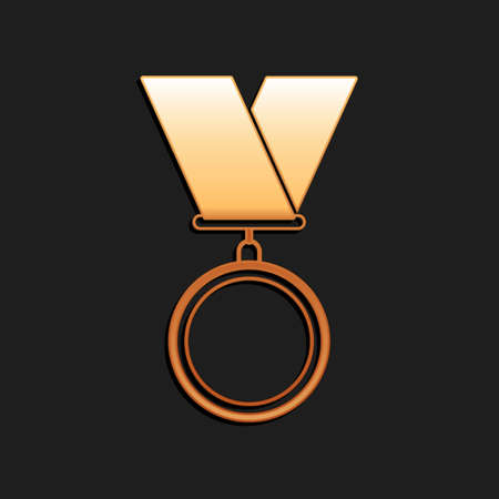 Gold Medal icon isolated on black background. Winner symbol. Long shadow style. Vector