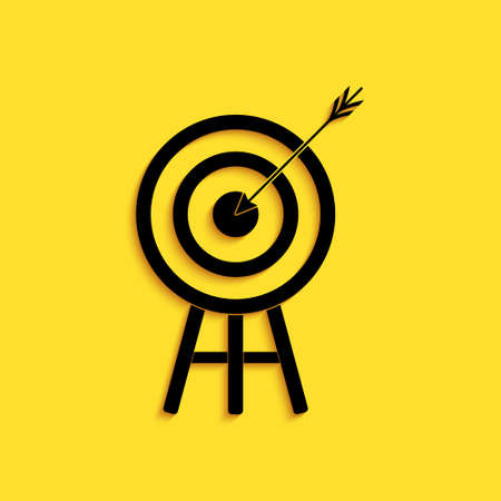 Black Target with arrow icon isolated on yellow background. Dart board sign. Archery board icon. Dartboard sign. Business goal concept. Long shadow style. Vector Ilustração