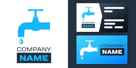 Water tap with a falling water drop icon isolated on white background.   design template element. Vector Illusztráció