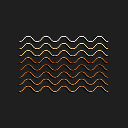 Gold Waves icon isolated on black background. Long shadow style. Vector