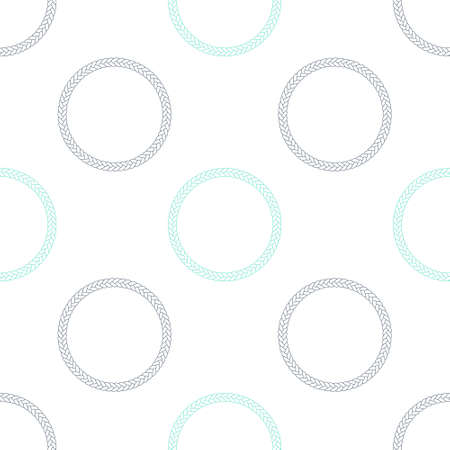 Green Rope frame icon isolated seamless pattern on white background. Frames from nautical rope. Round marine rope for decoration. Vector