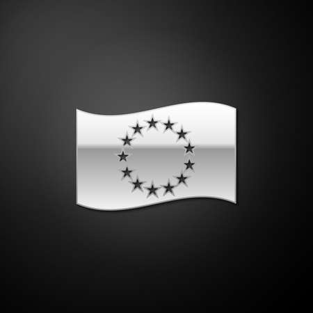 Silver Flag of European Union icon isolated on black background. EU circle symbol. Waving EU flag. Long shadow style. Vector Ilustrace