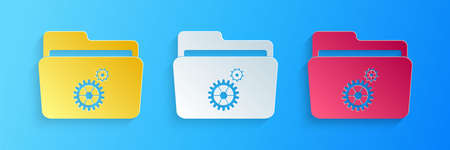 Paper cut Folder settings with gears icon isolated on blue background. Concept of software update, transfer protocol, router, teamwork tool management. Paper art style. Vector 矢量图像