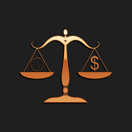Gold Scale weighing money and time icon isolated on black background. Scales with hours and a coin. Balance between work and the given time. Long shadow style. Vector