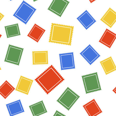 Color Postal stamp icon isolated seamless pattern on white background. Vector