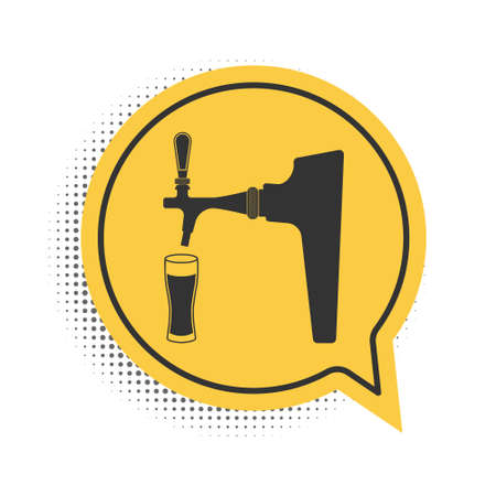 Black Beer tap with glass icon isolated on white background. Yellow speech bubble symbol. Vector