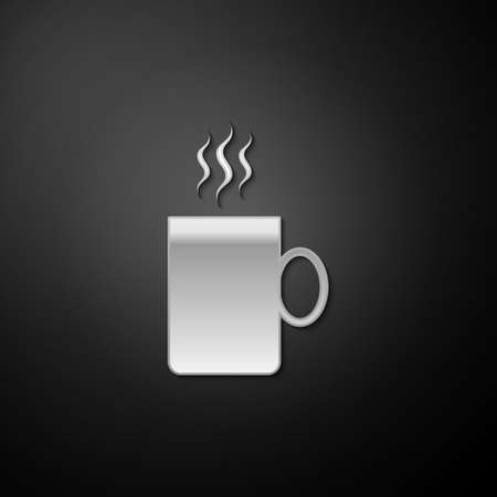 Silver Coffee cup flat icon isolated on black background. Tea cup. Hot drink coffee. Long shadow style. Vector