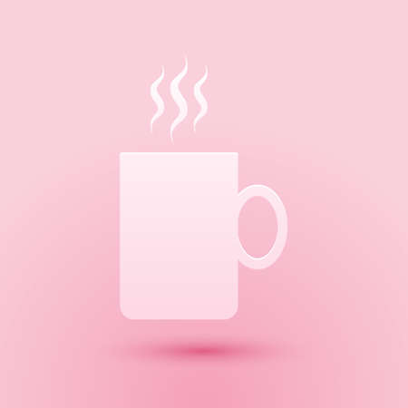 Paper cut Coffee cup flat icon isolated on pink background. Tea cup. Hot drink coffee. Paper art style. Vector
