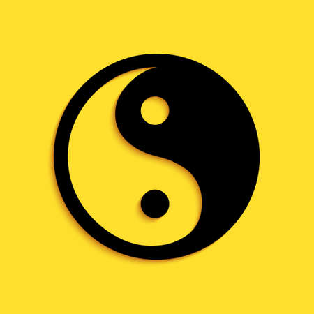 Black Yin Yang symbol of harmony and balance icon isolated on yellow background. Long shadow style. Vector 矢量图像