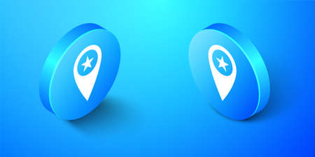 Isometric Map pointer with star icon isolated on blue background. Star favorite pin map icon. Map markers. Blue circle button. Vector