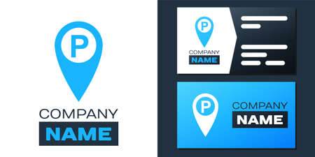 Map pointer with car parking icon isolated on white background.   design template element. Vector  イラスト・ベクター素材