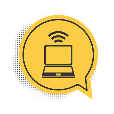Black Laptop and free wifi wireless connection icon isolated on white background. Wireless technology, wifi connection, wireless network. Yellow speech bubble symbol. Vector