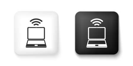 Black and white Laptop and free wifi wireless connection icon isolated on white background. Wireless technology, wifi connection, wireless network. Square button. Vector 矢量图像