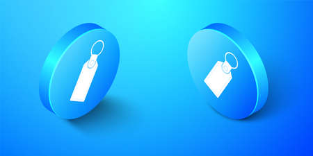 Isometric Rectangular key chain with ring for key icon isolated on blue background. Blue circle button. Vector 向量圖像