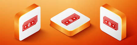 Isometric Paper money american dollars cash icon isolated on orange background. Money banknotes stack with dollar icon. Bill currency. Orange square button. Vector