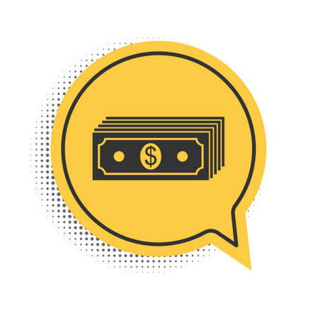 Black Paper money american dollars cash icon isolated on white background. Money banknotes stack with dollar icon. Bill currency. Yellow speech bubble symbol. Vector