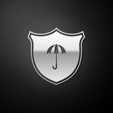 Silver Waterproof icon isolated on black background. Shield and umbrella. Water protection sign. Water resistant symbol. Long shadow style. Vector