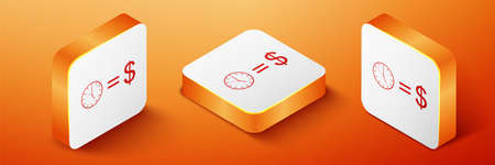 Isometric Time is money icon isolated on orange background. Money is time. Effective time management. Convert time to money. Orange square button. Vector