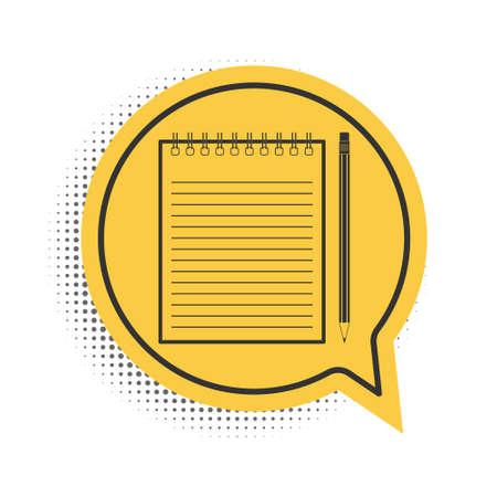 Black Blank notebook and pencil with eraser icon isolated on white background. Yellow speech bubble symbol. Vector