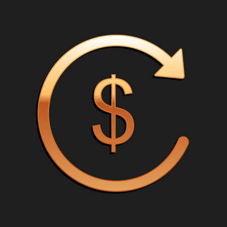 Gold Refund money icon isolated on black background. Financial services, cash back concept, money refund, return on investment, currency exchange. Long shadow style. Vector 向量圖像