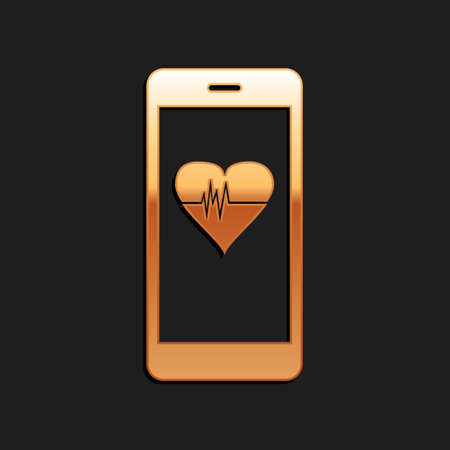 Gold Smartphone with heart rate monitor function icon isolated on black background. Long shadow style. Vector