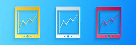 Paper cut Tablet with statistic graph chart icon isolated on blue background. Financial chart and graph sign. Paper art style. Vector 向量圖像