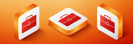 Isometric Briefcase icon isolated on orange background. Business case sign. Business portfolio. Orange square button. Vector