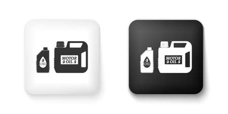 Black and white Plastic canister for motor machine oil icon isolated on white background. Oil gallon. Oil change service and repair. Engine oil sign. Square button. Vector