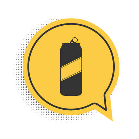 Black Aluminum can icon isolated on white background. Yellow speech bubble symbol. Vector Vettoriali