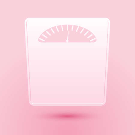 Paper cut Bathroom scales icon isolated on pink background. Weight measure Equipment. Weight Scale fitness sport concept. Paper art style. Vector 向量圖像