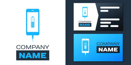 Logotype Smartphone battery charge icon isolated on white background. Phone with a low battery charge and with USB connection. Logo design template element. Vector