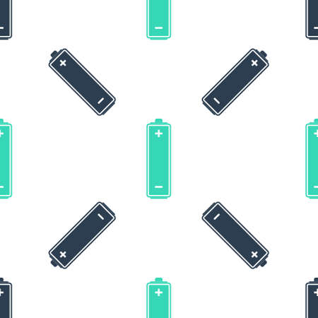 Green Battery icon isolated seamless pattern on white background. Vector