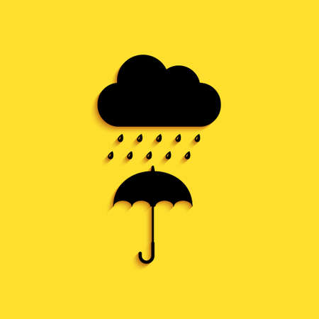Black Cloud with rain drop on umbrella icon isolated on yellow background. Long shadow style. Vector Vettoriali