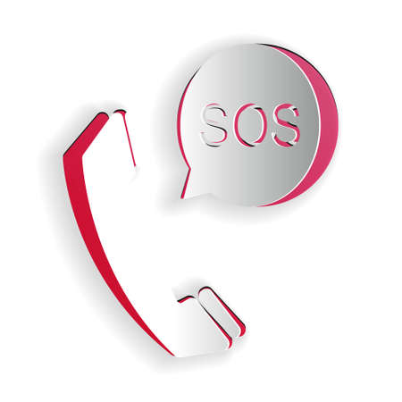 Paper cut SOS call icon isolated on white background. 911, emergency, help, warning, alarm. Paper art style. Vector