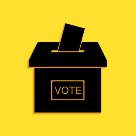 Black Vote box or ballot box with envelope icon isolated on yellow background. Long shadow style. Vector