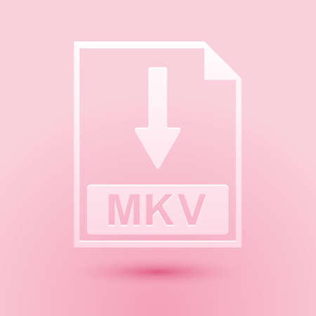 Paper cut MKV file document icon. Download MKV button icon isolated on pink background. Paper art style. Vector