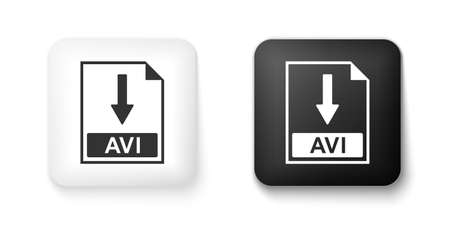 Black and white AVI file document icon. Download AVI button icon isolated on white background. Square button. Vector