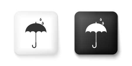 Black and white Classic elegant opened umbrella icon isolated on white background. Rain protection symbol. Square button. Vector Vettoriali