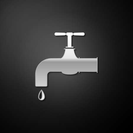 Silver Water tap with a falling water drop icon isolated on black background. Long shadow style. Vector 矢量图像