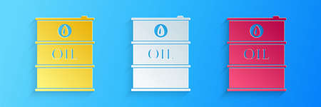 Paper cut Oil barrel icon isolated on blue background. Oil drum container. For infographics, fuel, industry, power, ecology. Paper art style. Vector