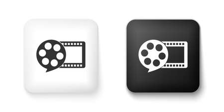 Black and white Film reel and play video movie film icon isolated on white background. Square button. Vector