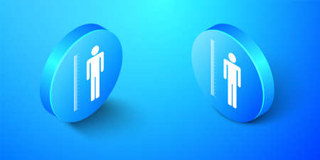 Isometric Measuring height body icon isolated on blue background. Blue circle button. Vector