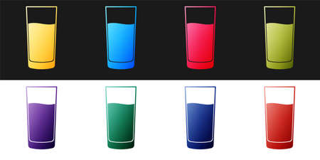 Set Glass with water icon isolated on black and white background. Soda glass. Vector 矢量图像
