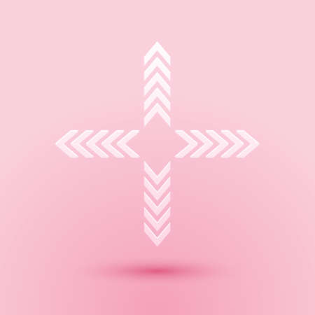 Paper cut Arrows in four directions icon isolated on pink background. Paper art style. Vector Illustration