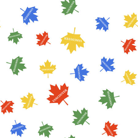Color Canadian maple leaf with city name Vancouver icon isolated seamless pattern on white background. Vector