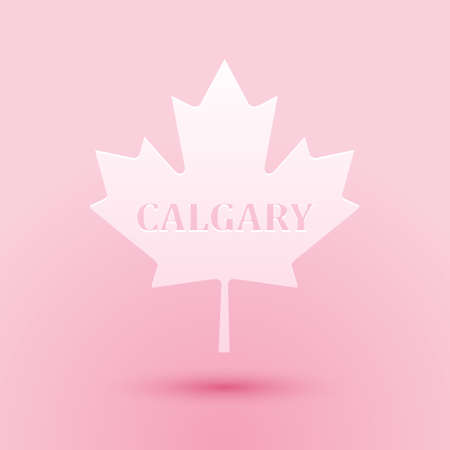 Paper cut Canadian maple leaf with city name Calgary icon isolated on pink background. Paper art style. Vector Çizim