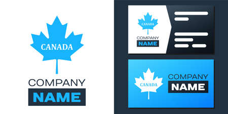 Logotype Canadian maple leaf with city name Canada icon isolated on white background. Logo design template element. Vector Çizim