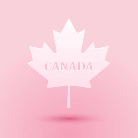 Paper cut Canadian maple leaf with city name Canada icon isolated on pink background. Paper art style. Vector Çizim