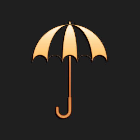 Gold Classic elegant opened umbrella icon isolated on black background. Rain protection symbol. Long shadow style. Vector
